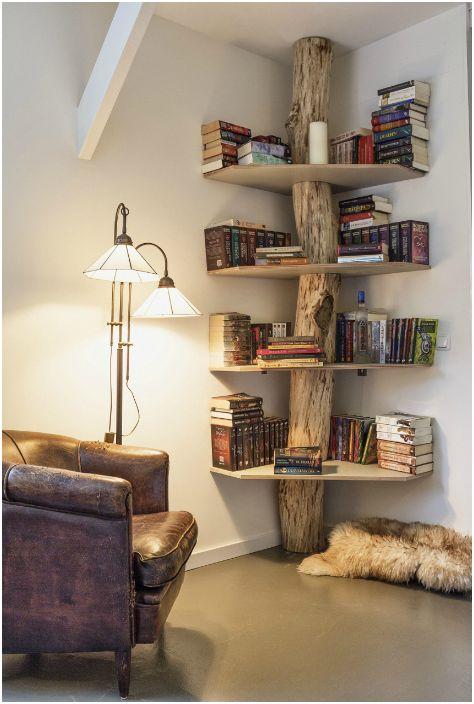 Оригиналният декор на рафтовете за книги.