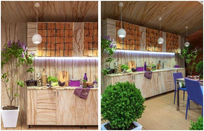 кухня в интериора на тераса в частна къща