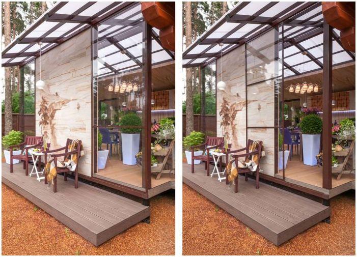плъзгащи се врати в дизайна на тераса в частна къща