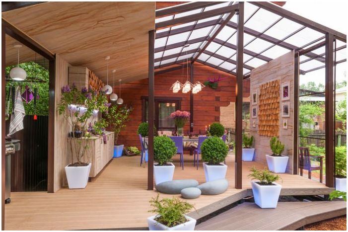 дизайн на затворена тераса към къщата