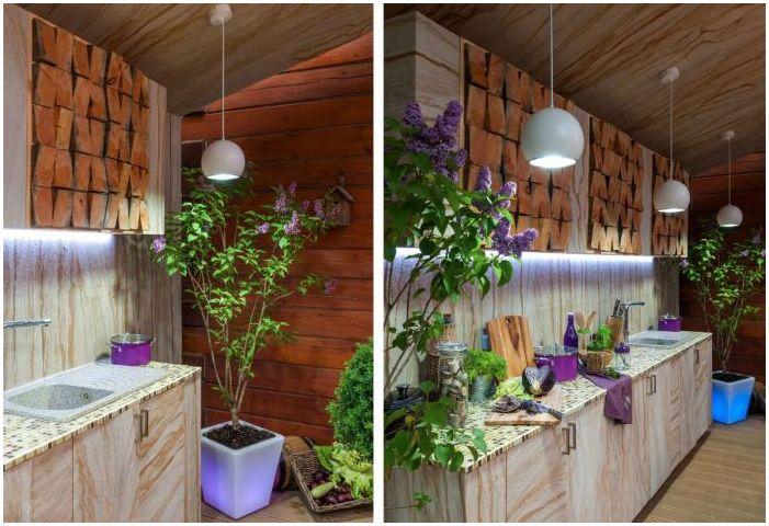 кухня в дизайн на вътрешен двор