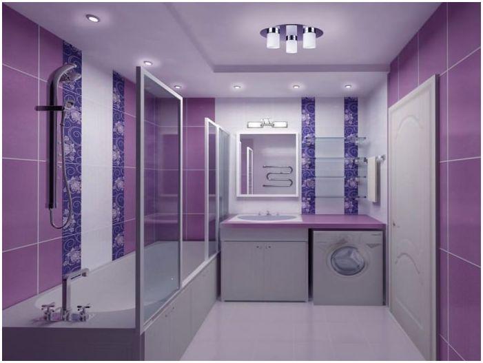 лилав дизайн на баня
