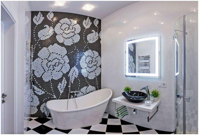 черно-бял дизайн на банята