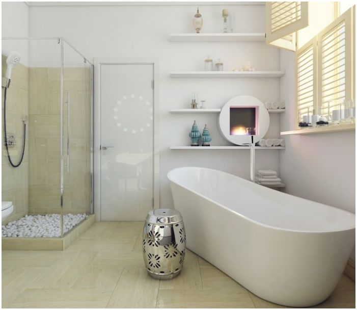 дизайн бело-бежевой ванной комнаты