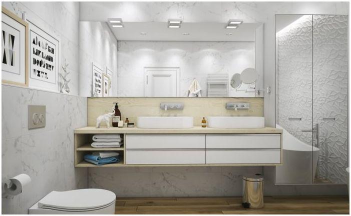 projekt łazienki 10 mkw. mw kolorze białym