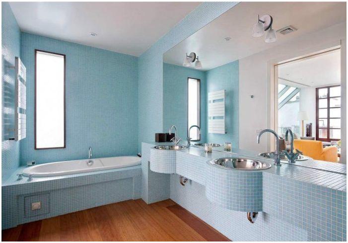 Син дизайн на банята