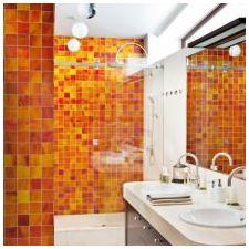 Дизайн ванной комнаты в оранжевом цвете-11