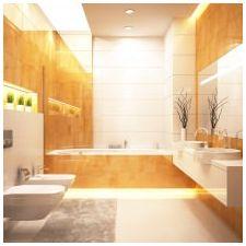 Дизайн ванной комнаты в оранжевом цвете-12