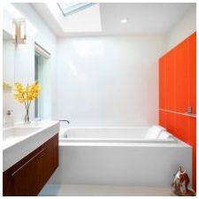 Дизайн ванной комнаты в оранжевом цвете-17