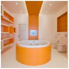 Дизайн ванной комнаты в оранжевом цвете-18