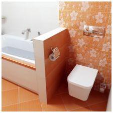 Дизайн ванной комнаты в оранжевом цвете-20