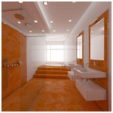 Дизайн ванной комнаты в оранжевом цвете-3
