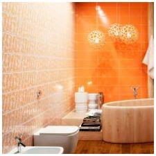 Дизайн ванной комнаты в оранжевом цвете-5