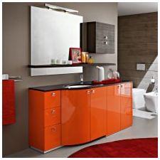 Дизайн ванной комнаты в оранжевом цвете-8