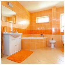 Дизайн ванной комнаты в оранжевом цвете-9