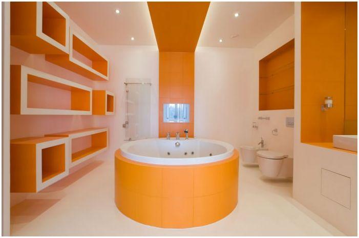 Дизайн оранжевой ванной комнаты