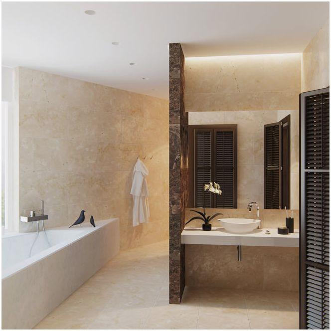 дизайн ванной в бежевых тонах