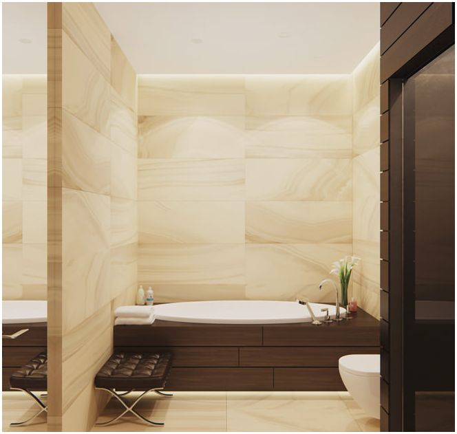 ванная комната в бежевых тонах