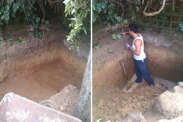 Ashley Yeates първоначално изкопали дупката до размера.