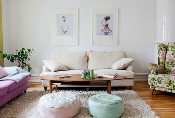 Луксозен интериор в пастелни цветове.
