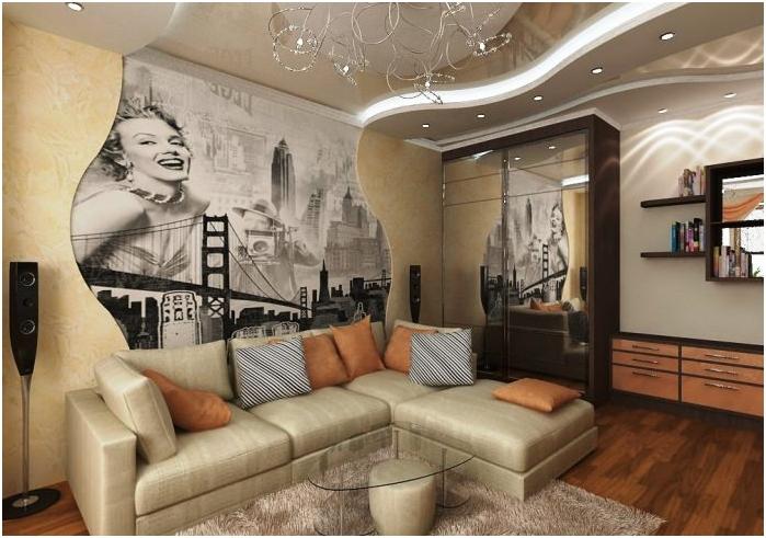 фото тапет в интериорния дизайн на хола