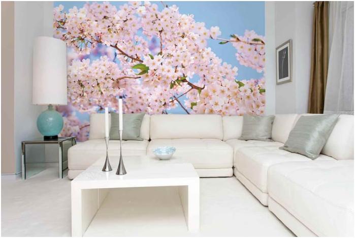фототапет с цветя в интериорния дизайн на хола
