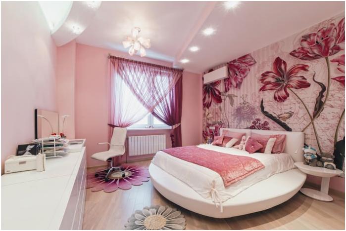 Фото тапет с цветя в дизайна на спалнята