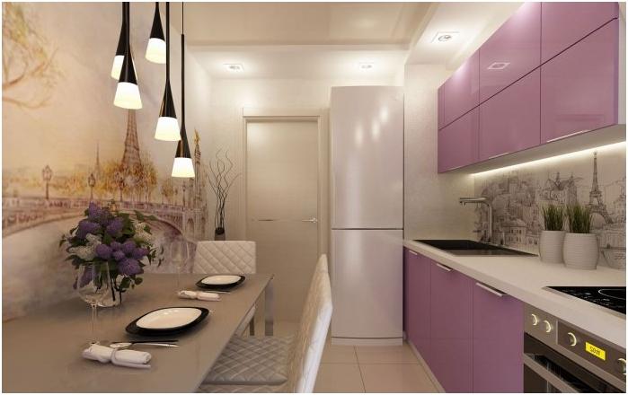 Кухненски интериор с фототапет