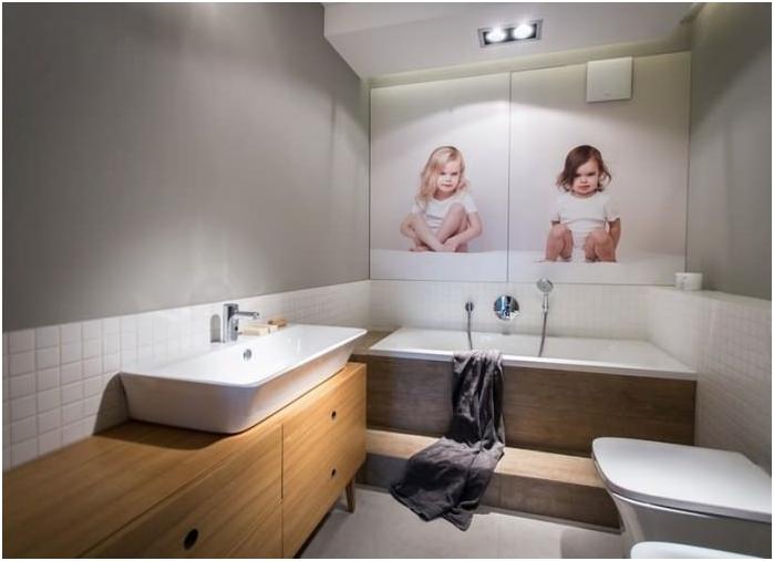 фототапет в модерен интериор за баня