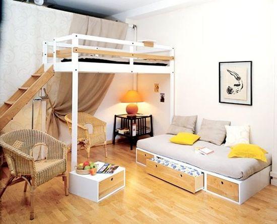 Интериорен дизайн на апартамент на две нива, стая на две нива