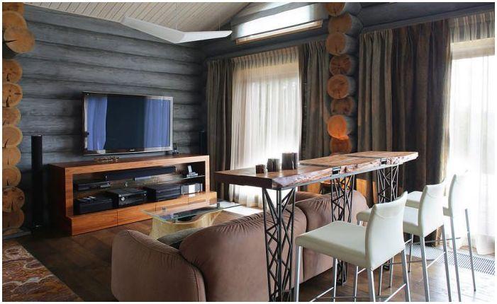 интериор на дървена къща от дънер