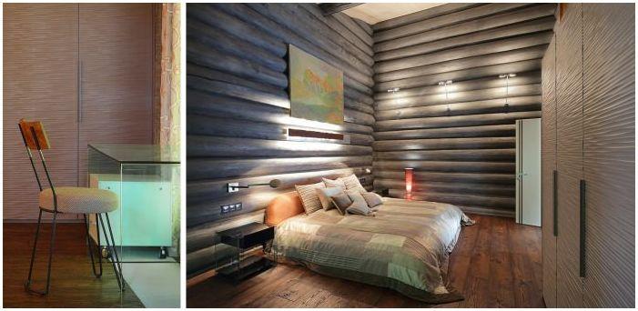 спалня в интериора на дървена къща, изработена от трупи