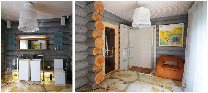 баня в интериора на дървена къща от труп