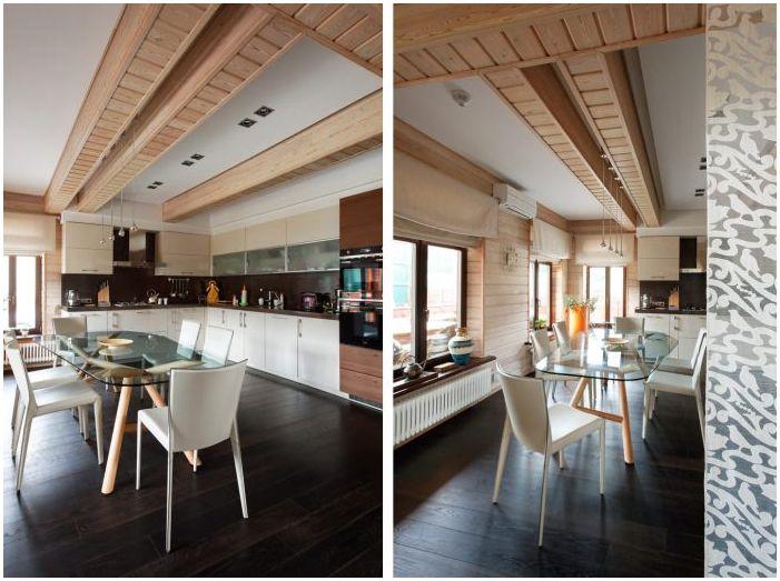 kuchnia-jadalnia w projekcie drewnianego domu z barem