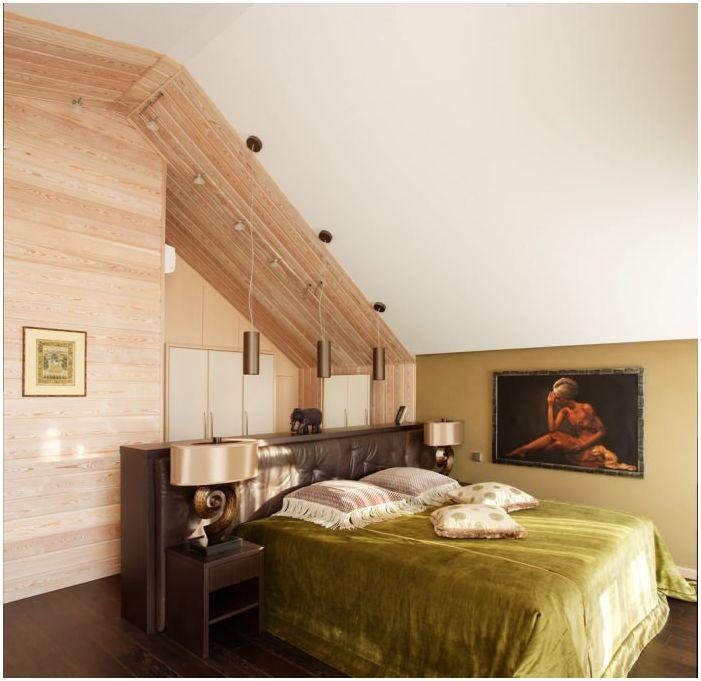 спалня в дизайна на дървена къща от бар