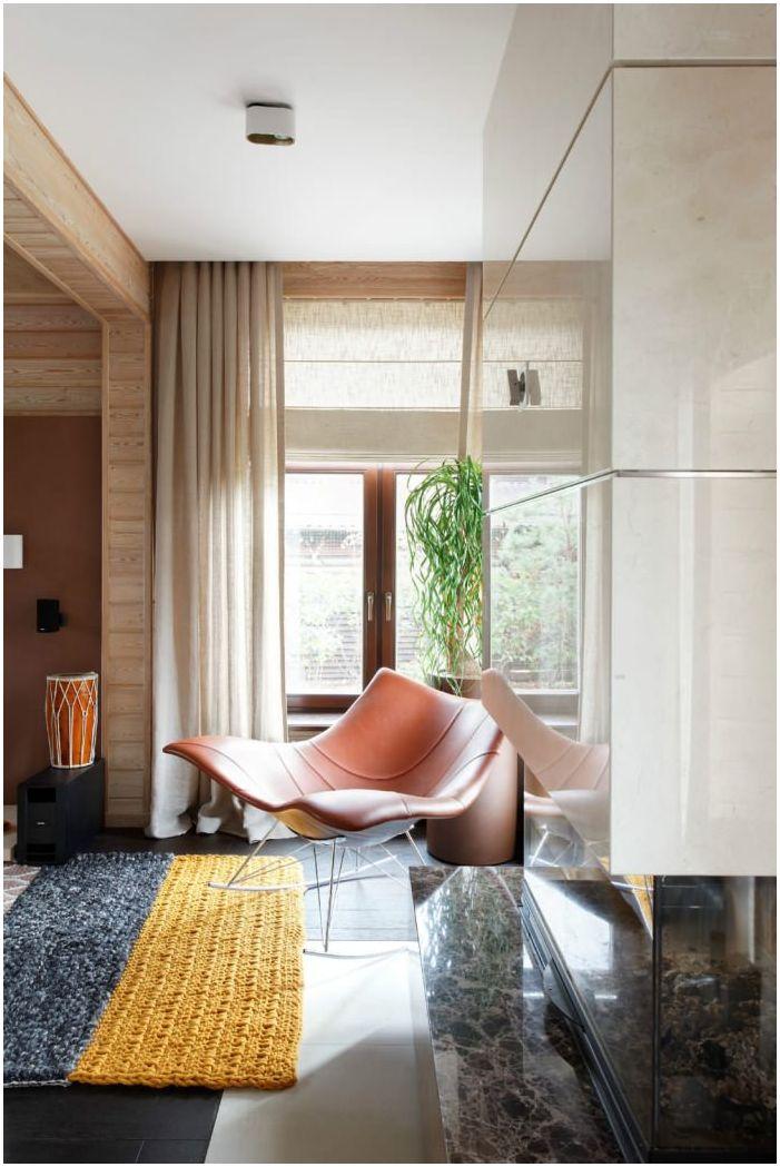 salon w projekcie drewnianego domu z baru