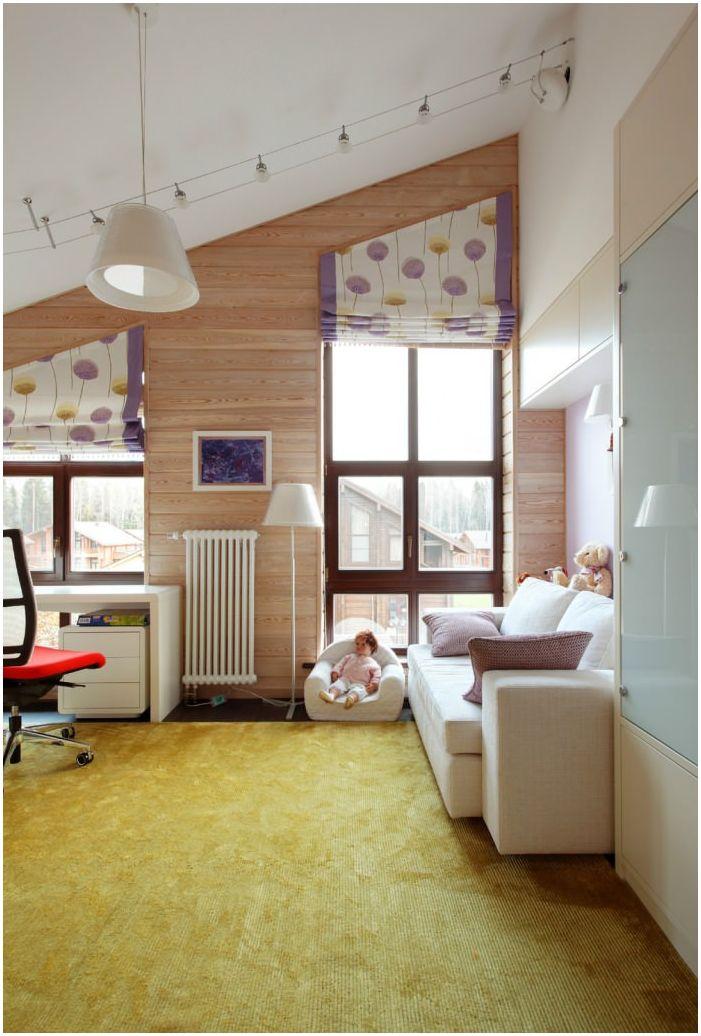 детска стая в интериора на къща, изработена от ламиниран фурнирен дървен материал