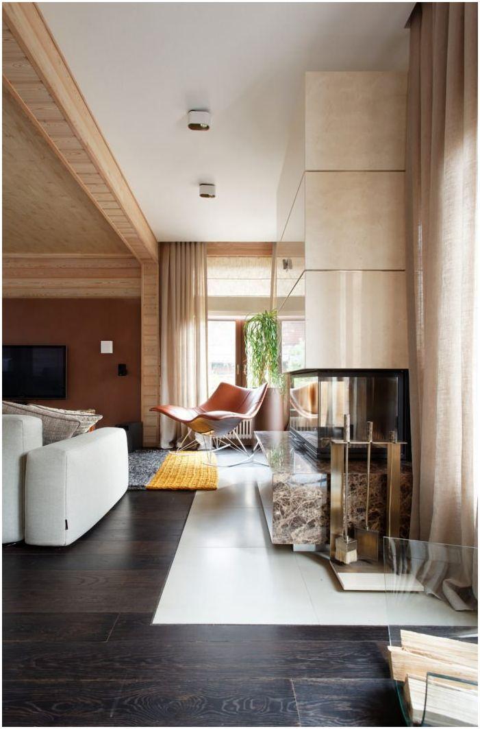 хол в дизайна на дървена къща от бар