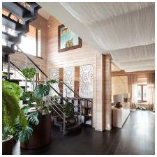 Интериор на къщата, изработен от залепен ламиниран дървен материал 200 кв. m-3
