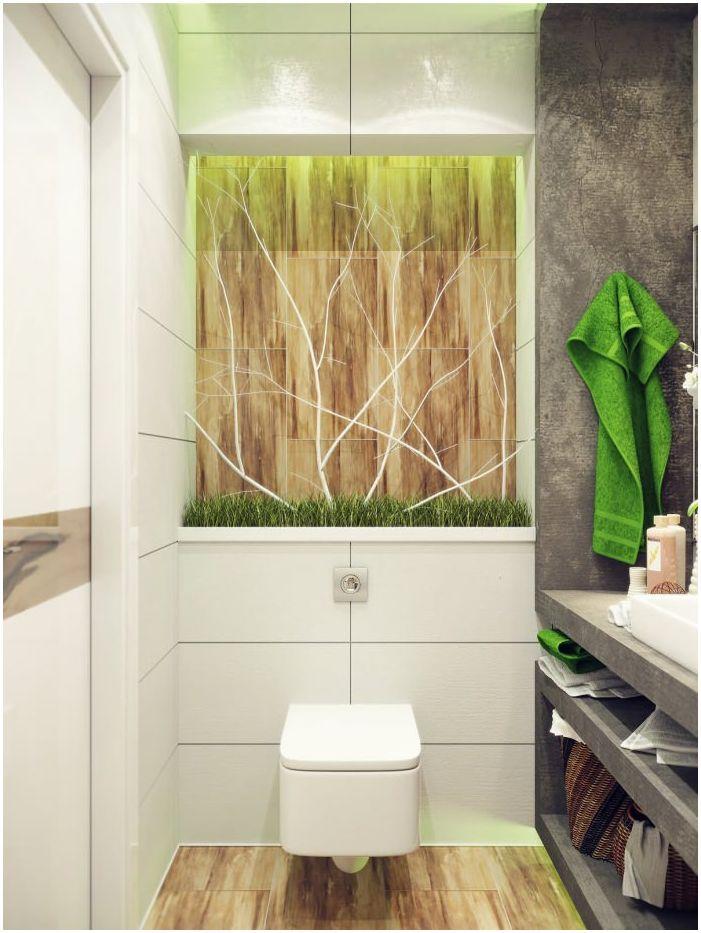 тоалетна чиния в интериора на малка баня 4 кв. м.