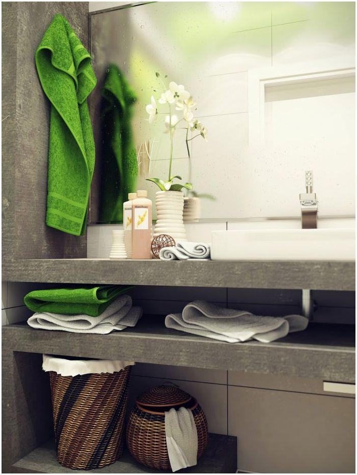 мивка в интериора на малка баня 4 кв. м.