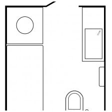 Wnętrze łazienki w czerni i bieli 5 mkw. m-1