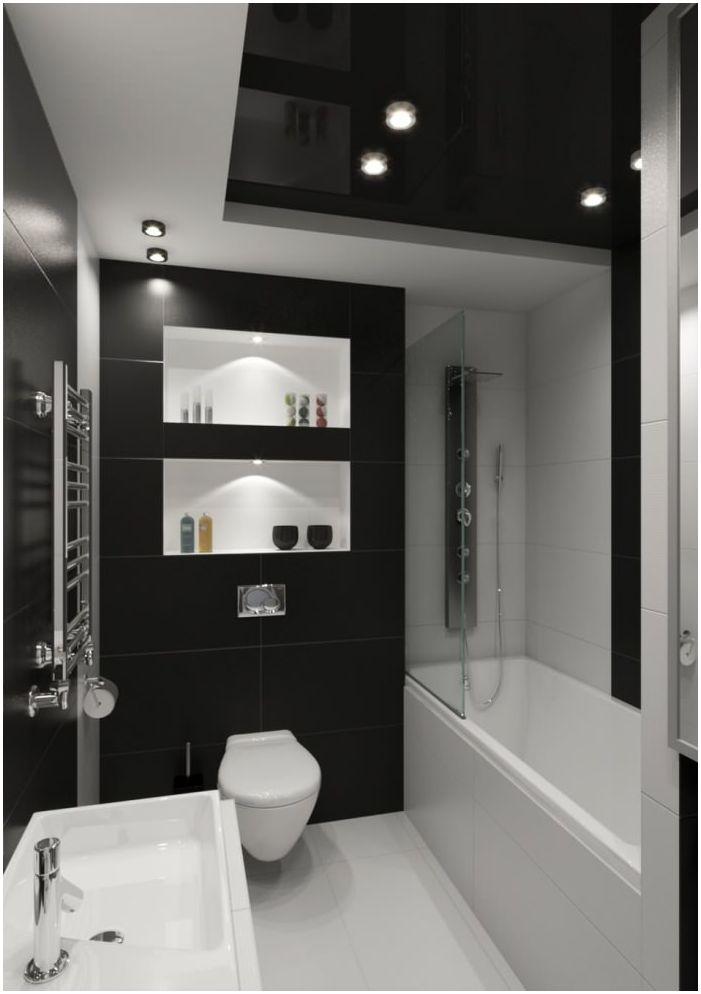 czarno-białe wnętrze łazienki 5 mkw. m.