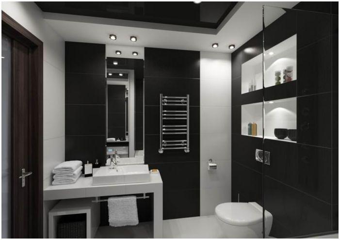 łazienka w czerni i bieli 5 mkw. m.