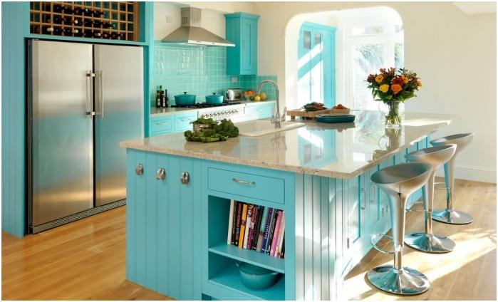 wnętrze kuchni w turkusowych kolorach