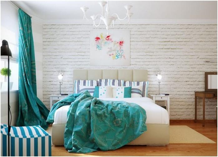 wnętrze sypialni w kolorze turkusowym
