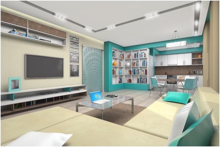 wnętrze kuchni-salonu w kolorze turkusowym