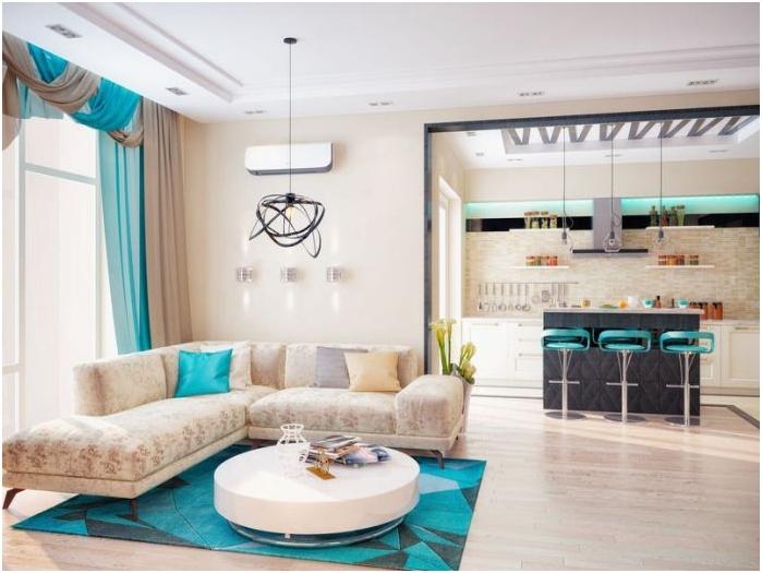 jasne turkusowe elementy dekoracyjne