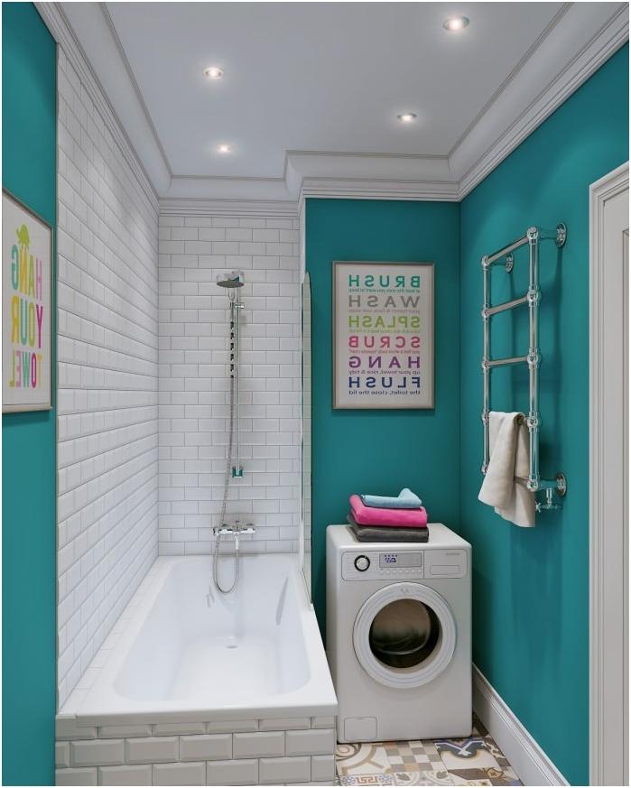 Turkusowy kolor we wnętrzu łazienki