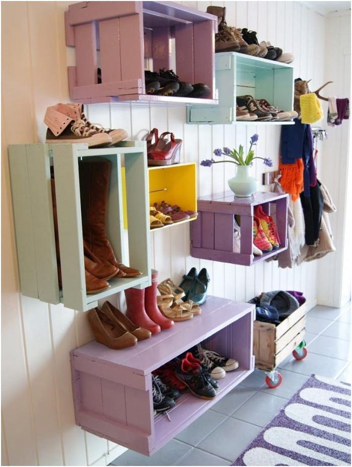 drewniane pudełka do przechowywania butów
